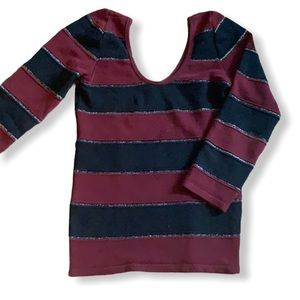 Striped knit sweater open back burgundy & black